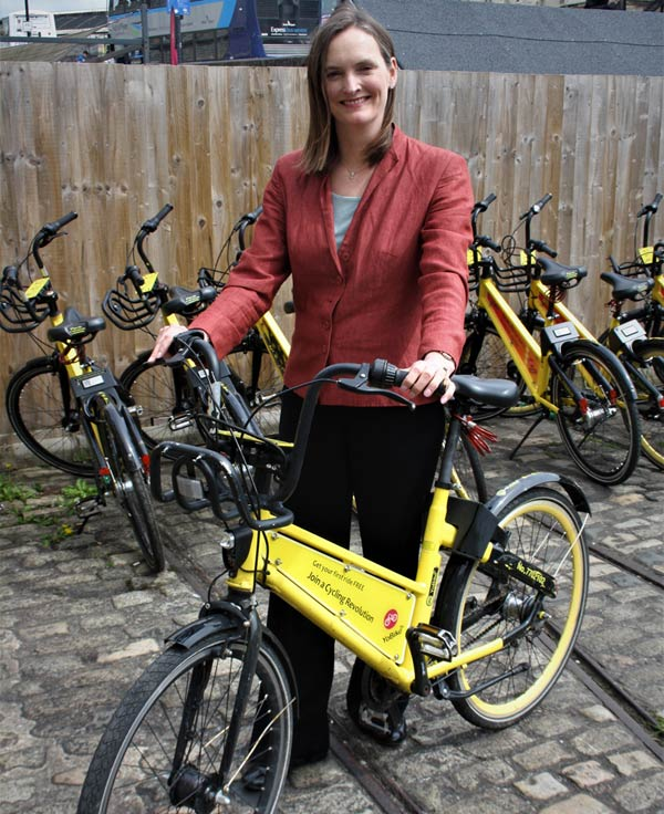 Angela Terry with an electric bike